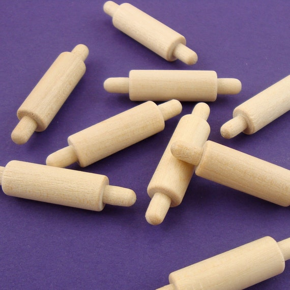 16 miniature rolling pins . solid unfinished wood for doll houses . LAST of stock