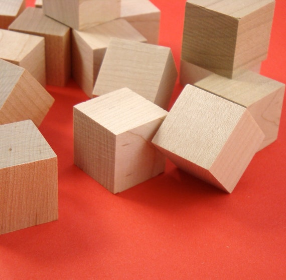 "15 wood 1"" block . square cubes . solid wood 1 inch / unfinished . LAST of stock"