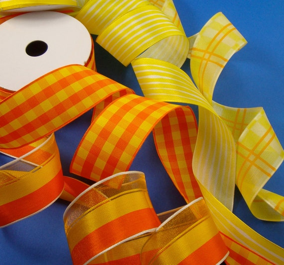 orange yellow wired ribbon assortment . 4 styles . 17 yards
