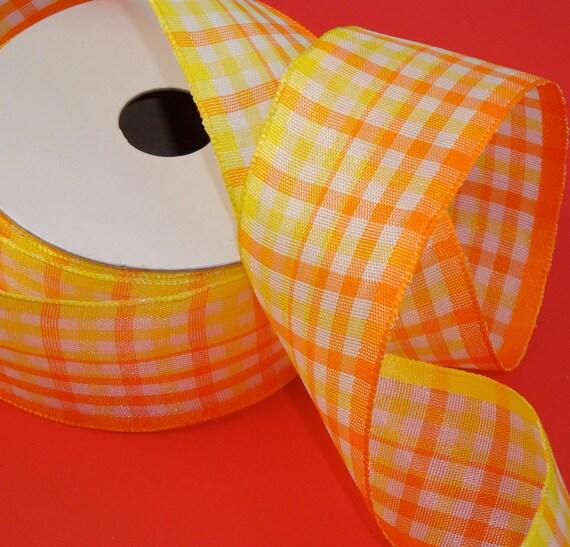 plaid ribbon . 8 yards . orange yellow white . wired . 2 bolts . 1 1/2 inch . satin semi-sheer