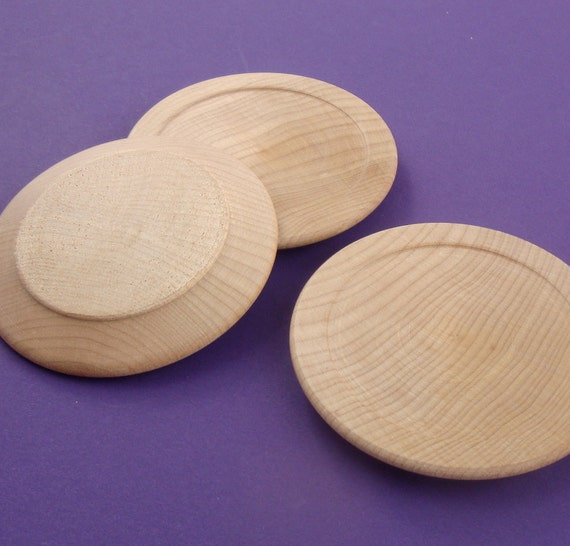 "6 wood plate platters. doll miniatures . unfinished wood . 2.5"" size . RESERVED"