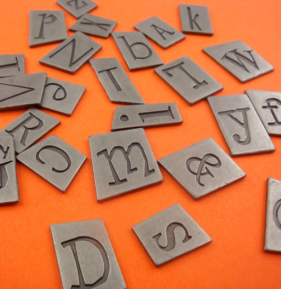 27 pcs metal alphabet embellishments / upper & lower case . pewter charms . 2-sided ransom font .  LIMITED stock