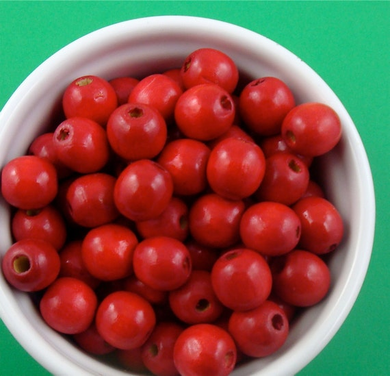 150 cherry red wood beads . rustic holiday 14mm . LAST of stock