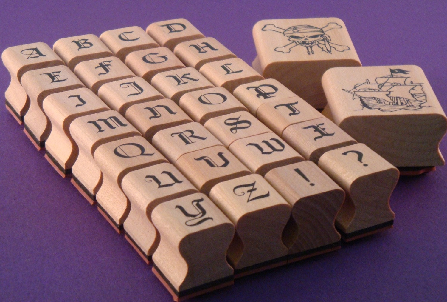 Rubber stamp alphabet pirate collection old english type