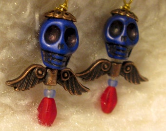 Day of the Dead Skull Earrings--Art Dolls for your ears (Star Babies Too)  FREE SHIPPING