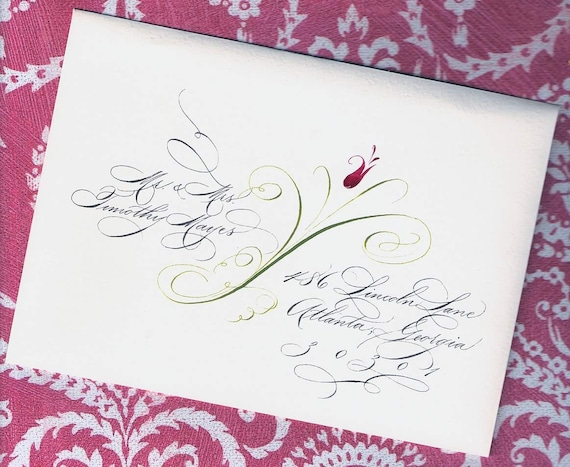 Spencerian Lettering With Flower Custom Wedding Invitation