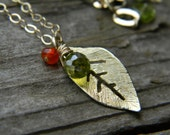 golden textured leaf necklace with olive green cubic zirconia and carnelian - long, gold filled chain