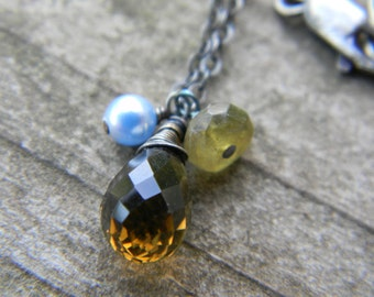 whiskey quartz, blue pearl and green garnet necklace - oxidized rustic silver