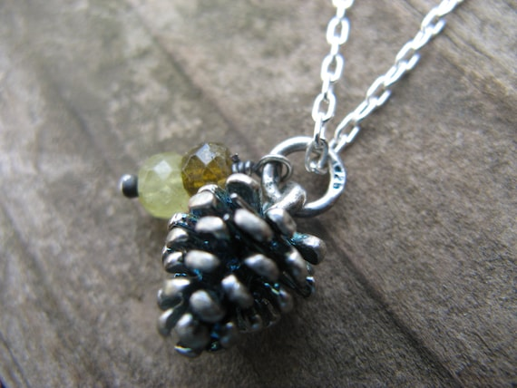 little pinecone necklace - sterling silver, green garnet, prehnite and vessonite