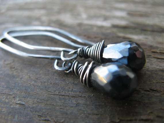 mystic coated black spinel earrings - oxidized silver, rustic
