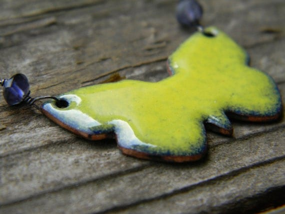 Enameled Butterfly Necklace - yellow - with Iolite and oxidized silver