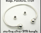 Bracelet Bangle 8 Inch Sterling Silver for Big Hole Beads