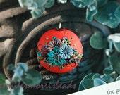 sweet tangerine cobblestone garden - vintage inspired embroidery pendant