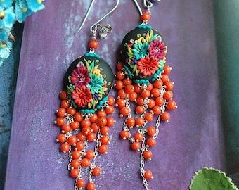 bella isabella - long festive mexican embroidery earrings