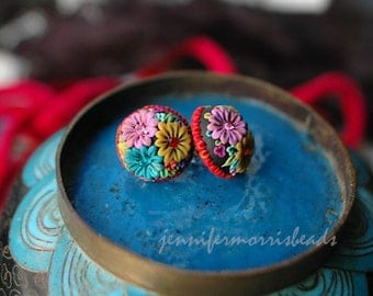 muy festive  mexican embroidery - retro bauble earrings