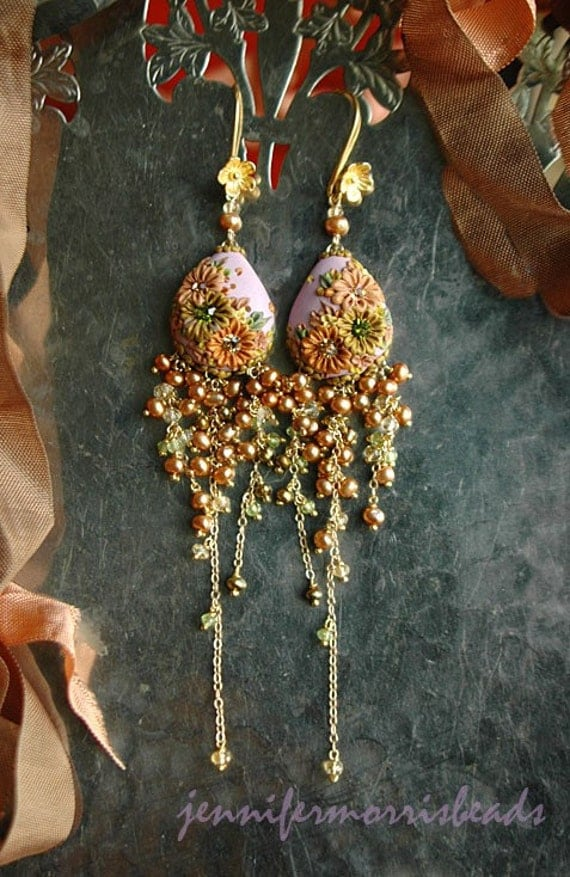 in the glowing willows - oh so long and luscious garden embroidery earrings