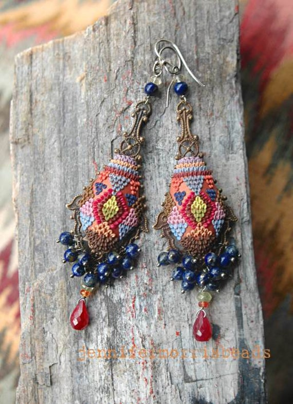 reserved for s - train to istanbul - tribal embroidery inspired earrings - payment for earrings