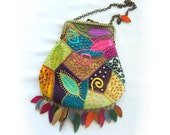 Reduced Colorful Patchwork Kiss Lock Purse Crouton Leaf Fringe