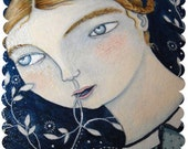"Original folk art blue painting, ""The Evening Star"""