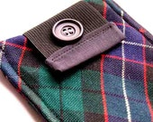 Upcycled PLAID Necktie Gadget/Smart Phone Sleeve with back pocket