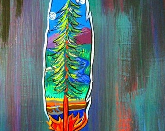 Magnet, TREE FEATHER magnet, cut out magnet, hand painted, tree scene, art, Made To Order