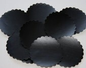 """Set of 10 Chalkboard Tag Sticker Labels, Scalloped Circles 2"""""""