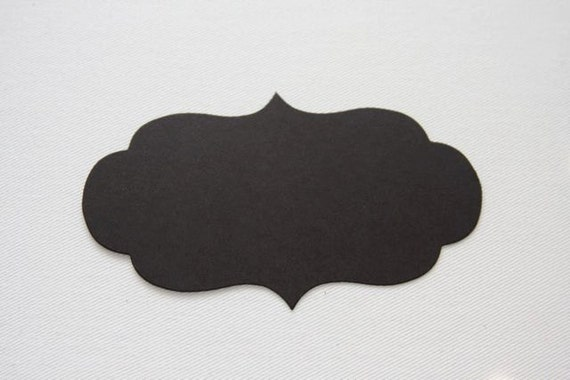 Set of 5 Chalkboard Tag Sticker Labels, Antique Rectangle 4""