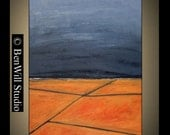 LARGE Abstract Painting ORIGINAL Contemporary Art Orange Gray Landscape Oil Painting CROSSROADS Ready to Hang 40x28 by BenWill