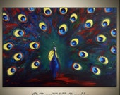 ORIGINAL Peacock Art LARGE Abstract COLORFUL Blue Red Yellow Peacock Painting Textured Fine Art on Canvas 40x28 by BenWill