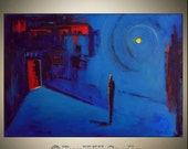 ORIGINAL Contemporary Abstract Painting Blue Moonlight Red Door Figure Art, NIGHT in BLUE on Large Gallery Canvas 40x28 by BenWill
