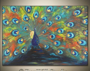 PEACOCK Art ORIGINAL Painting Made 2 Order COLORFUL Large Modern Abstract Art Turquoise Orange Blue Yellow, Ready to Hang by BenWill