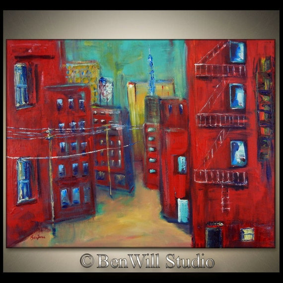 Abstract CITY Painting Large Modern Art ORIGINAL Red Turquoise Downtown URBAN Art, Gallery Canvas 36x28  by BenWill