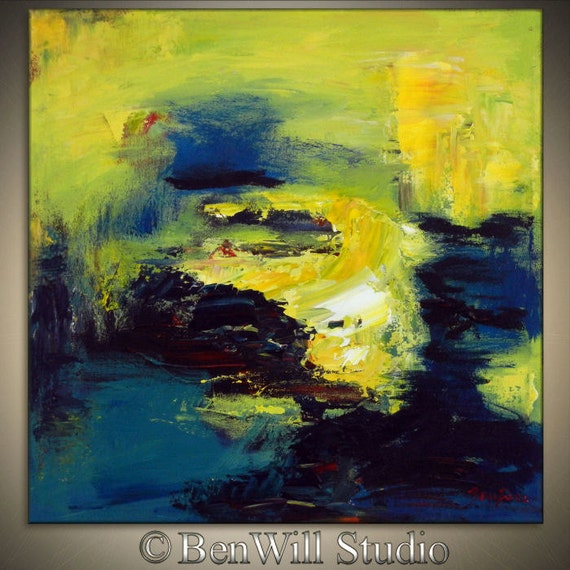 Original Abstract Contemporary Art EXPRESSIONIST Oil Painting Yellow Blue Turquoise TIDAL POOL 20x20 by BenWill