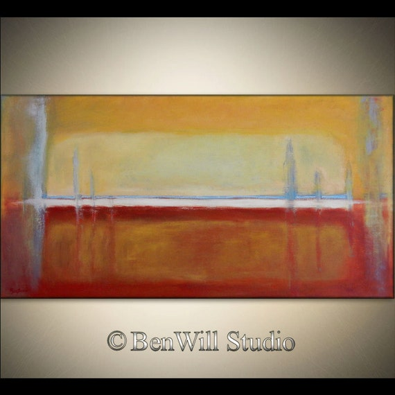 Large Abstract Art Original EXPRESSIONIST Painting Brown Yellow Blue Modern Art, HORIZON 48x24 by BenWill