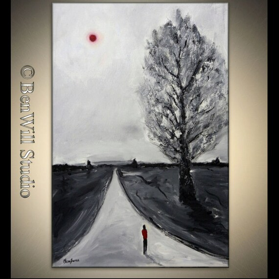 Black and White Painting ORIGINAL Abstract Canvas Art Landscape FIGURE Painting - The Path Forward 36x24 by BenWill