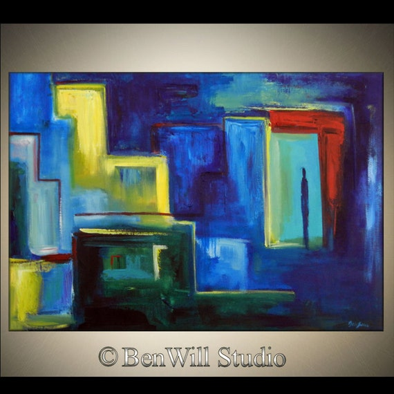 ORIGINAL Abstract MODERN Art Oil Painting Large Blue Red Yellow COLORFUL Art - World of Colors 40x28 by BenWill