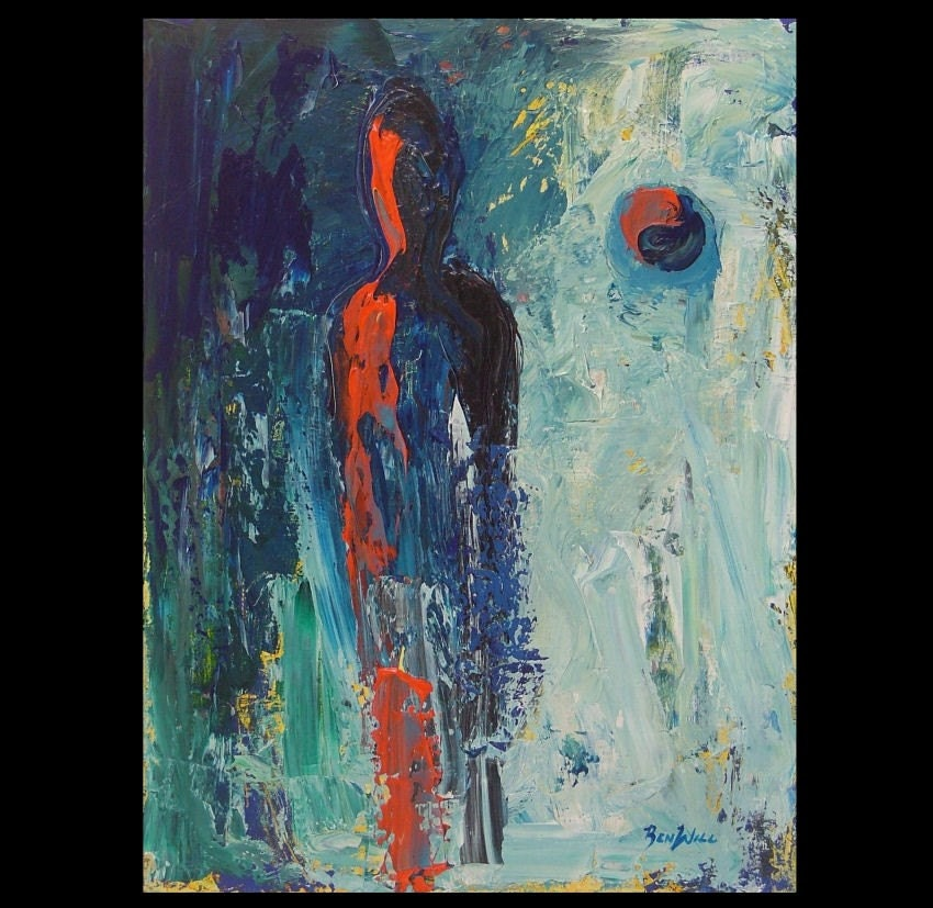 Original abstract contemporary figure painting red blue for Contemporary mural