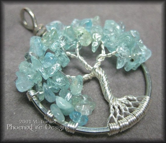 March Tree - Tree of Life Pendant in Blue Aquamarine and Sterling Silver Wire Wrapped
