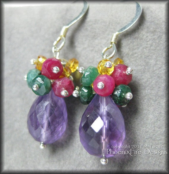 Stunning Precious Gemstone Dangle Earrings Featuring Amethyst Ruby Emerald and Yellow Sapphire in Sterling Silver