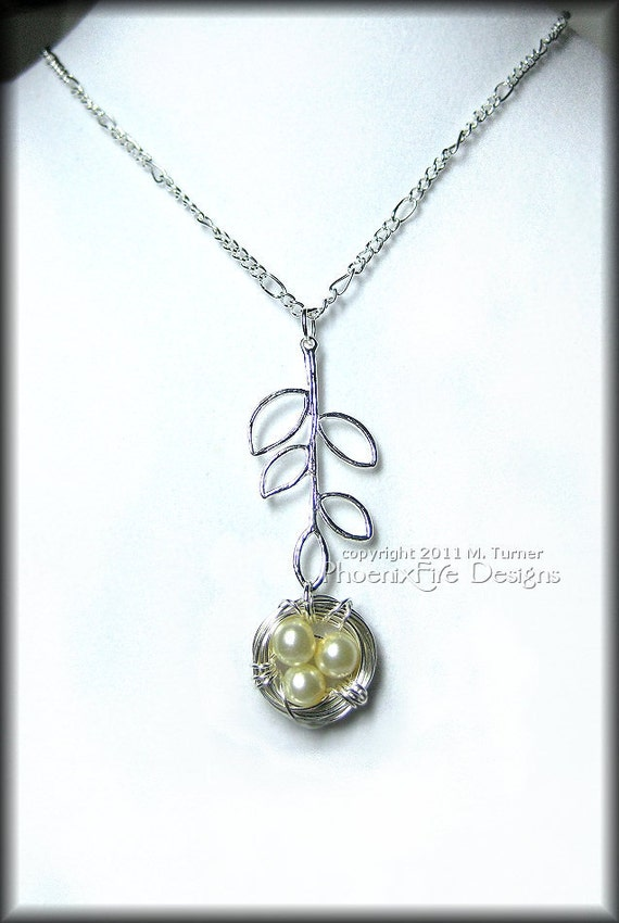 Bird Nest Pendant Dangles from Tree Branch Charm in Ivory Glass Pearl and Figaro Sterling Silver Chain Necklace