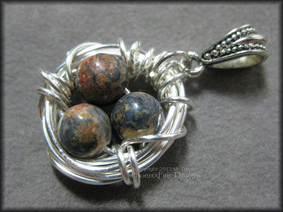 Bird Nest Pendant with Leopardskin Jasper Eggs in Sterling Silver Wire Wrapped Nestlace