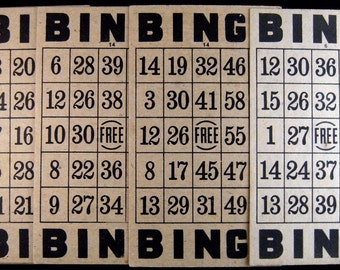 5 Vintage BINGO Cards Set 3