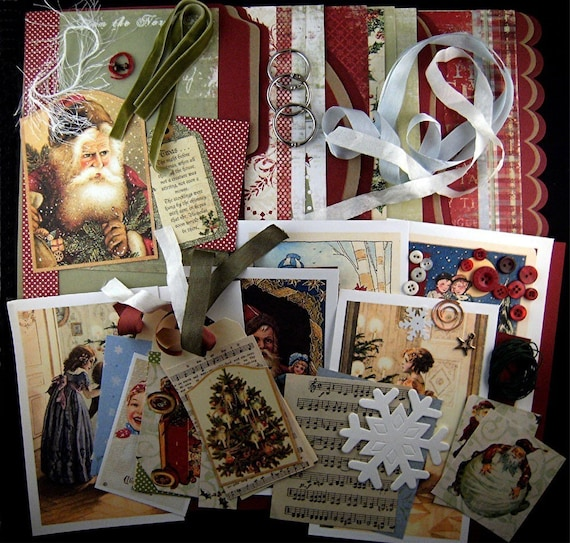 YULETIDE JOY Christmas Chipboard Album Kit