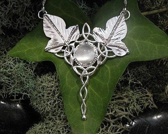 Elvish Celtic Ivy Leaf Pendant with 16 Inch Box Chain and Moonstone .925