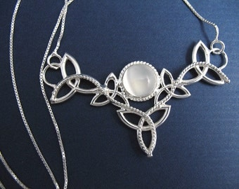 Sterling Silver Celtic Trinity Knot Moonstone Pendant Necklace with 16 Inch Box Chain, Handmade