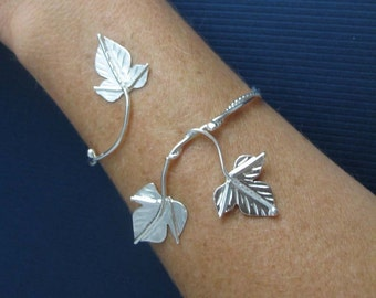 Ivy Leaf Wrap Bracelet Cuff in Sterling Silver with 3 Leaves