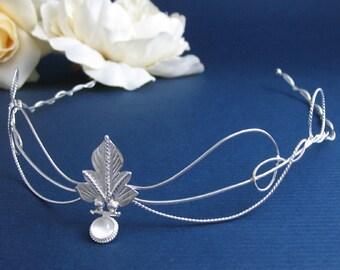 OOAK Faery Woodland Leaf Wedding Bridal Circlet, Middle Earth Headpiece,  Leaf Moonstone Circlet, Sterling Silver Handmade