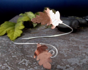 Fall Leaves Copper and Sterling Silver Upper Armlet Torc, Handmade, Upper Arm Cuff