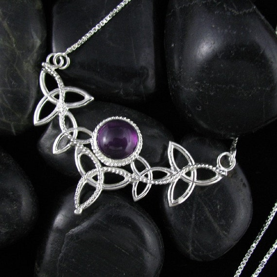 Amethyst Celtic Sterling Silver Necklace