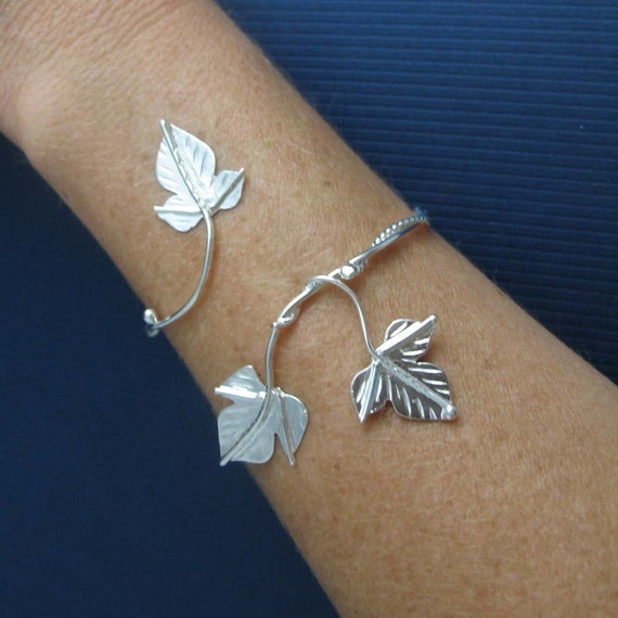 Woodland Ivy Leaf Wrap Bracelet Cuff, Sterling Silver, Rustic Leaves, Autumn, Handmade in Sterling Silver